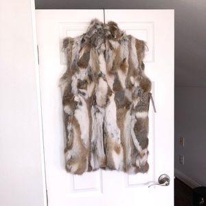 Adrienne Landau textured rabbit fur vest